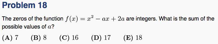 Quadratic has integer roots - AMC12A 2015 Q18