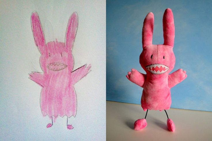 Drawings turned into stuffed animals