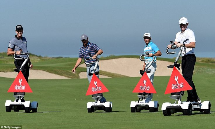 """Jordan Spieth (2nd from left)  joined friends in Abu Dhabi riding """"golfboards"""" --Henrik Stenson (far left), Ricky Fowler (2nd right) and Rory McIlroy (far right)....."""
