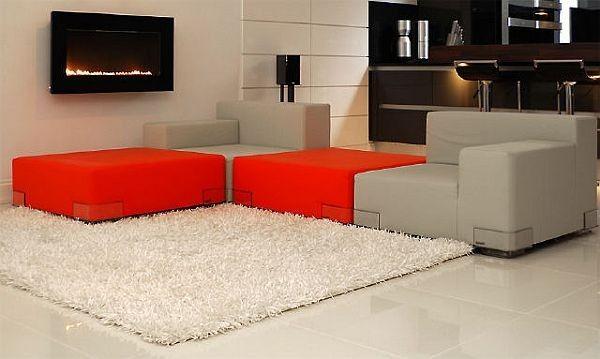 Moderne Ideen für Bachelor-Pad rot sofa
