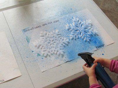 Snowflake stencils / watercolors / spray bottles = fun