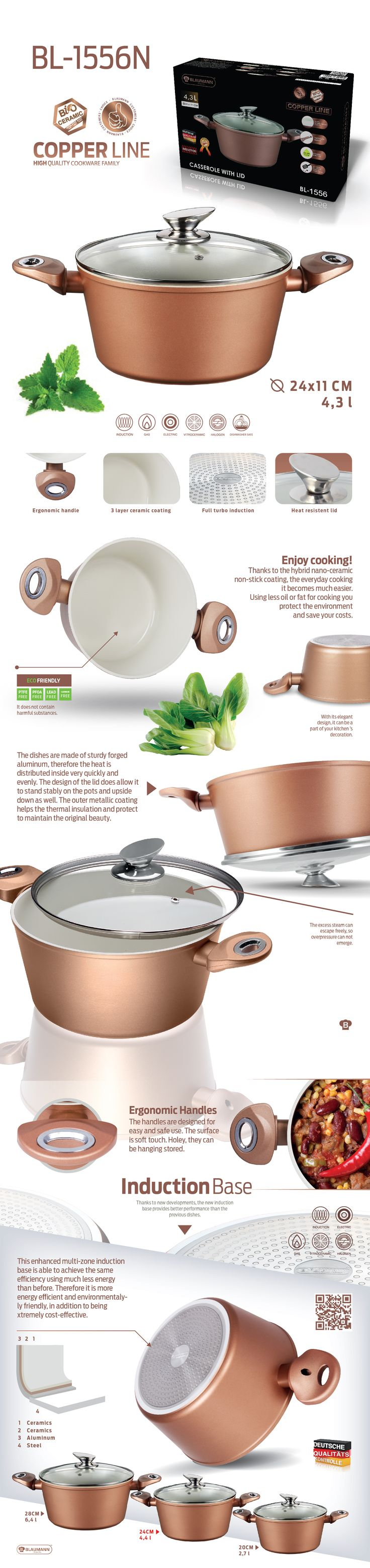 Casserole with lid - Copper Line (20cm / 24cm / 28cm) is high quality cookware and is coated with a hybrid nano-ceramic non-stick coating, for easier every cooking