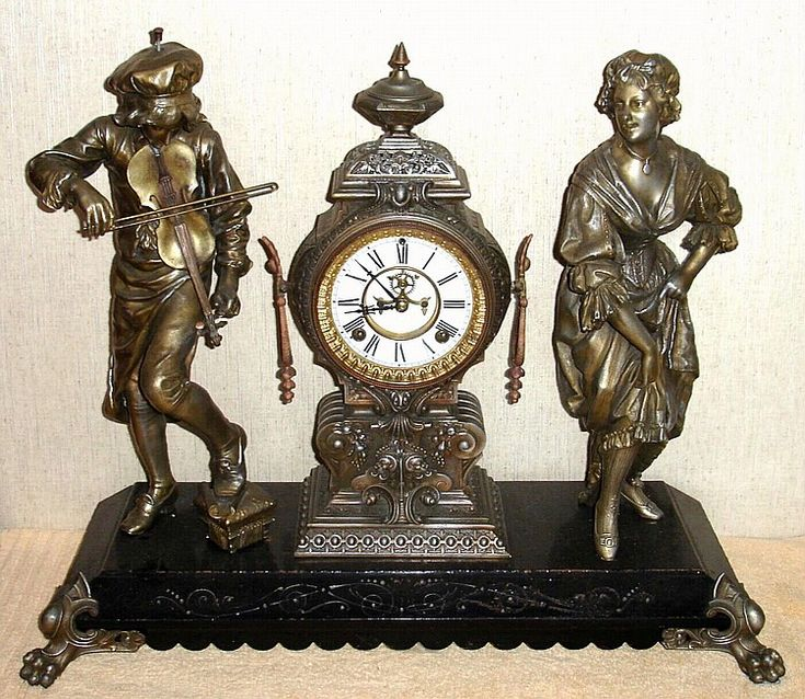 """Ansonia Clock Company - New York, c.1880, """"MELODY & MOTION"""" - a figural clock of the American Gilded Age era. ~~ {cwl} ~ (Image: artfact auction)"""