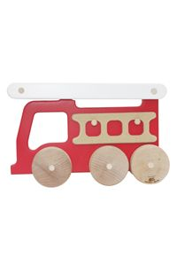 Manny & Simon Fire Truck Push Toy   Manny & Simon makes all of their products with 100% post-industrial recycled wood residuals. They are non toxic with ultra low odor paint and zero VOC. Made in the USA  $39.00