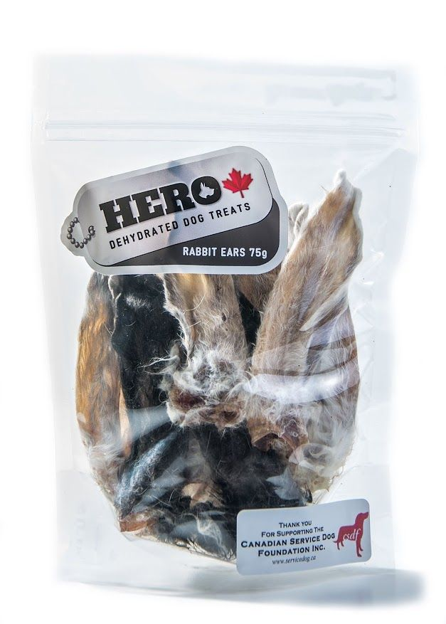 Rabbit Ears - 75gr                    14.99 HeroDogTreats™ Rabbit Ears are a Crunchy Treat Your HERO Will LOVE. These Furry Treats are Great for Allergic Pets, and are a High in Fibre.