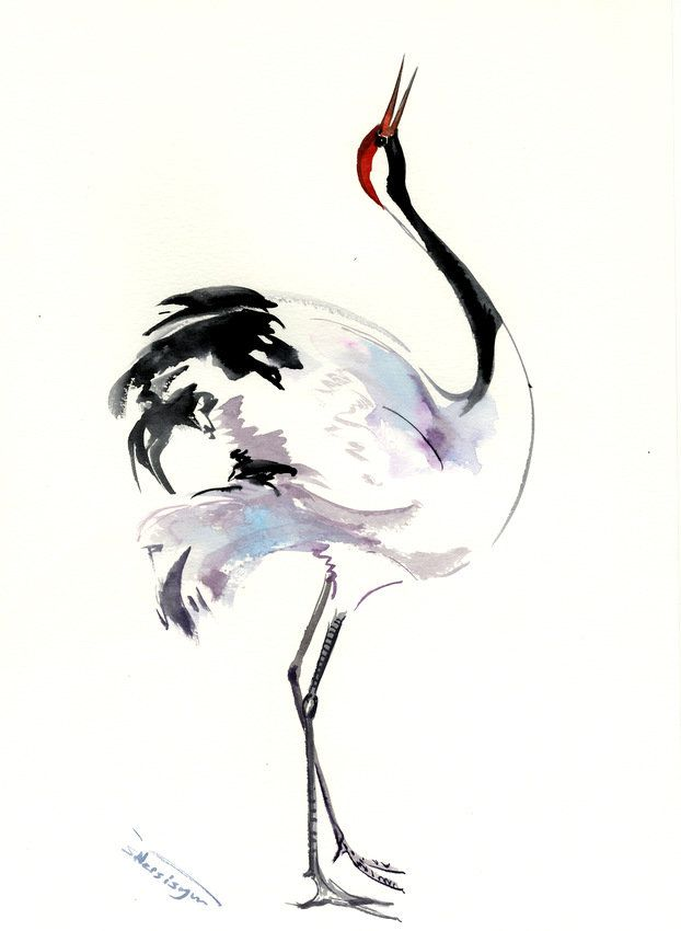 Japaneese Crane Crane Artwork Chinese Watercolor Original