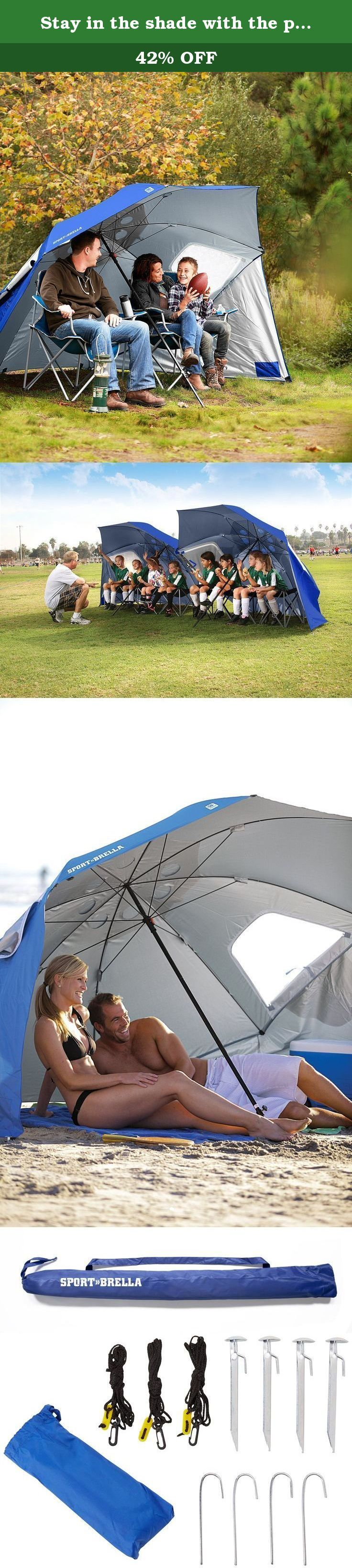 Stay in the shade with the portable Sport-Brella Umbrella. Get instant protection from the sun, rain and wind with this SPF 125 shelter. Stay safe and protected from the sun or the rain with the Sport-Brella for all your outdoor adventures. Whether it's time for the football championships, or you're spending your day on the shore, be confident that you have shelter with this 8 ft. wide canopy umbrella. With UPF 50+ protection, and 99.5% protection from UVA and UVB light, you'll have a…