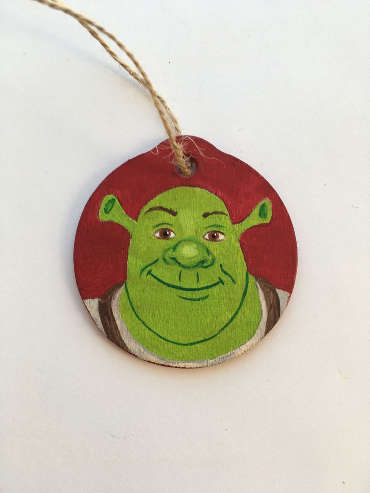 Shrek hand painted wooden Christmas ornament (With images ...