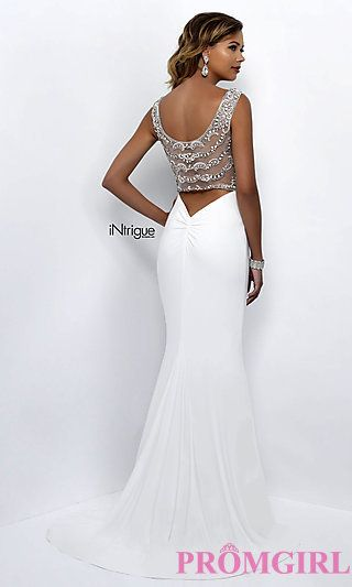Long white v-neck sheer back prom dress with beaded details from Intrigue by Blush. Style: BL-IN-300