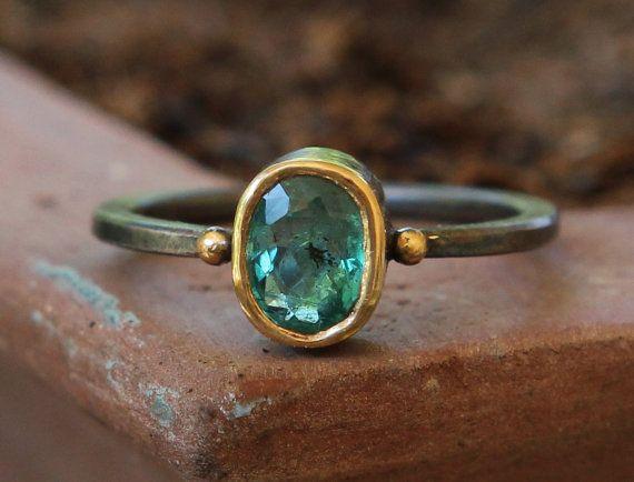Hammer Forged 22k And Oxidized Sterling .95 ct Zambian Emerald Panna Stone Sz 7