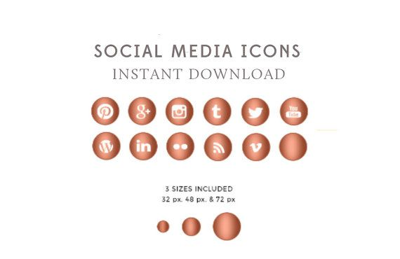Rose Gold Social Media Icons & Buttons  by ByStephanieDesign