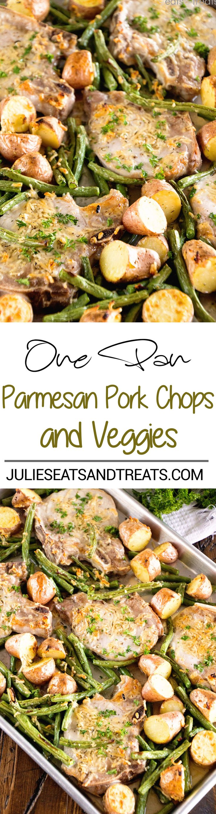 One Pan Parmesan Pork Chops and Veggies Recipe ~ Juicy Pork Chops Baked in the Oven with Potatoes and Veggies Seasoned with Garlic, Thyme and Parmesan! Quick, Healthy, Light Dinner ready in 30 Minutes! on MyRecipeMagic.com