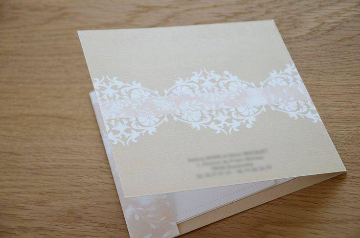 Faire part pochette Valérie et Kévin - Romantique - champetre - dentelle - wedding - rose - programme - initiales - 100% personnalisée - création unique   https://www.facebook.com/lespetitsmooceane/
