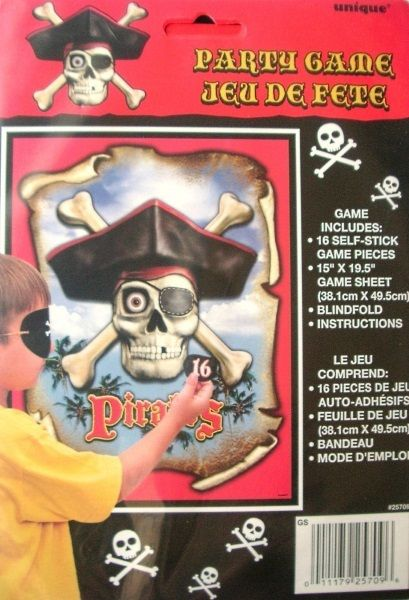 Stick / Pin The Patch On The Pirate Party Game With Blindfold Up To 16 Players