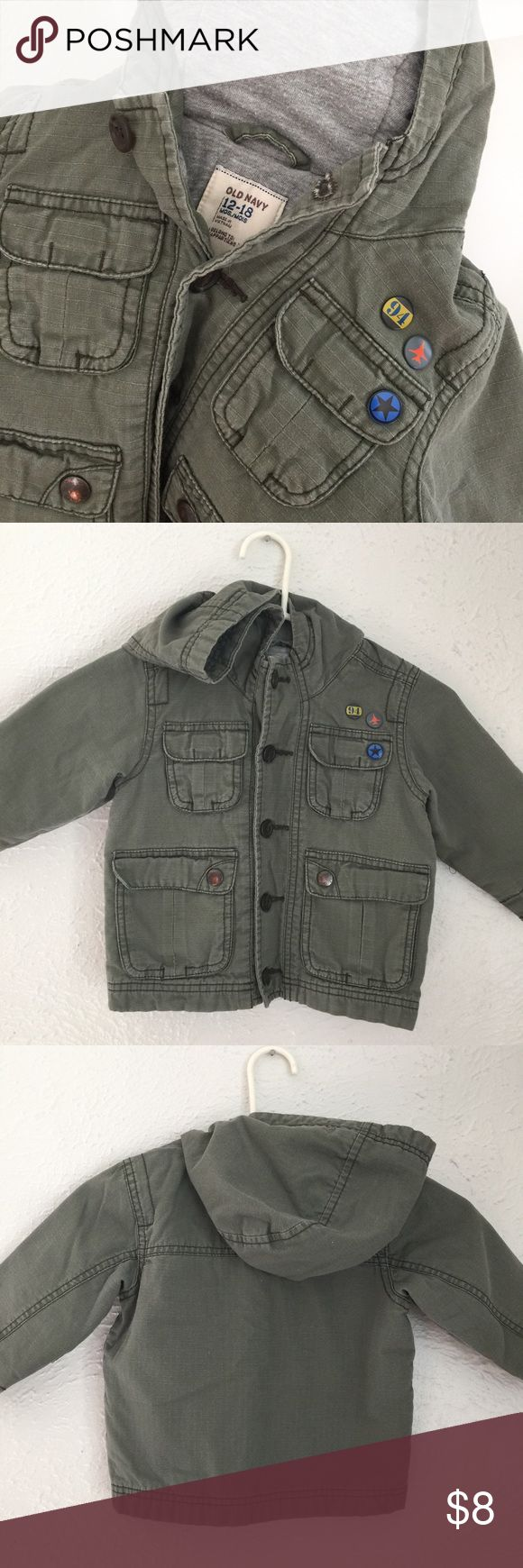 """ON ARMY fatigue perfect for fall jacket w/ """"pins"""" ARMY military fatigue olive green pinned up - perfect for fall jacket -field coat w/ hood - preloved condition - punk rock vibes for your little <3 Old Navy Jackets & Coats"""