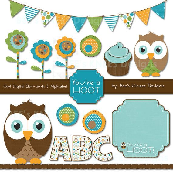 Owl Clip Art Digital Scrapbook Pack Baby by beeskneesdesignshop, $5.00