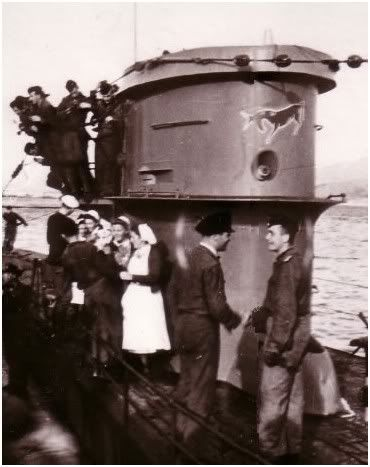 """U-133 (Type VIIC), victory after sinking the destroyer H.M.S. """"Gurha"""" in January 1942."""