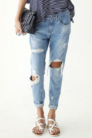 Stylish Bleach Wash Hole Design Loose-Fitting Denim Women's Jeans Pants | RoseGal.com Mobile