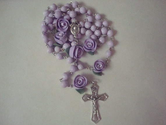 Purple clay bead and rose rosary by barganbright on Etsy, $20.00