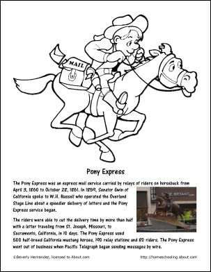 pony express coloring pages free - photo#10