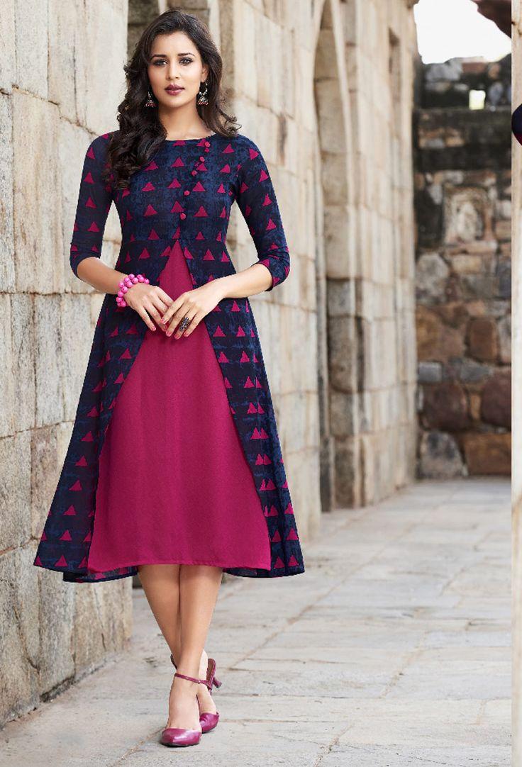 Shop readymade blue cotton designer printed kurti , freeshipping all over the world , Item code kudad77