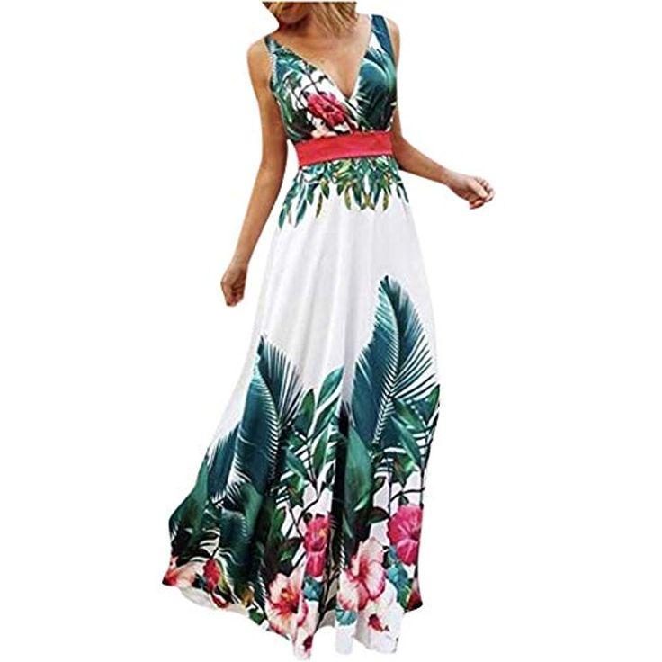 Goosuny Damen Sommerkleider Lang V-Ausschnitt Blumen Strandkleider Bohemian Slee…