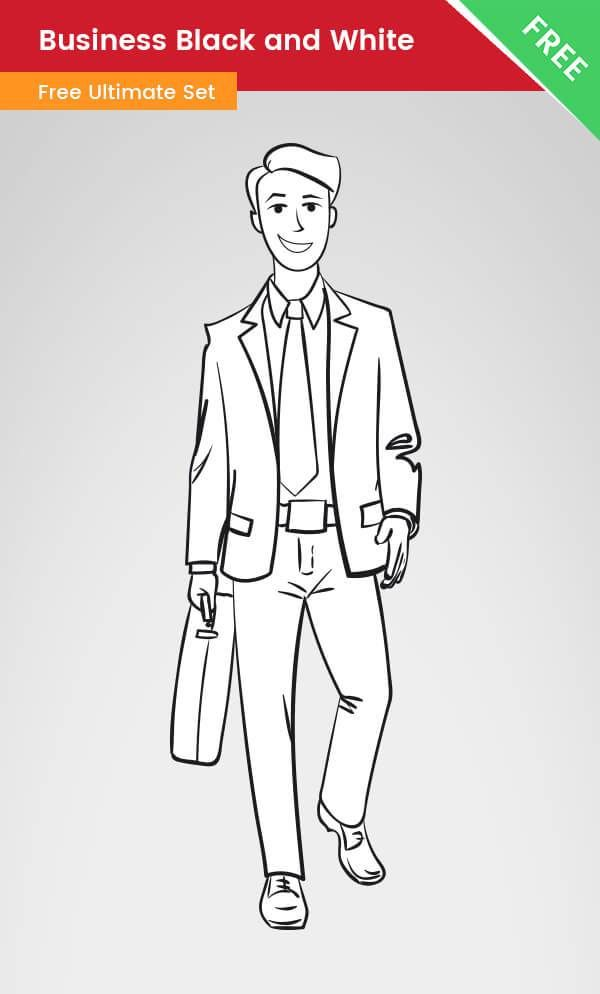 A Business Clipart Of A Man Made In Black And White Style This Drawing Is Made Of Vector Shapes Clipart Black And White Clip Art Business Vector Illustration