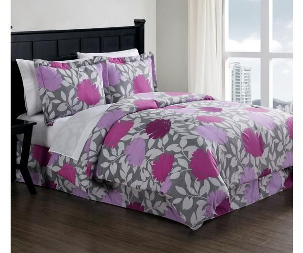 Modern, yet traditional with large outline graphic blossoms on a background of silver and white leafy vines. This complete bed ensemble lets you add some color and life to your bedroom.