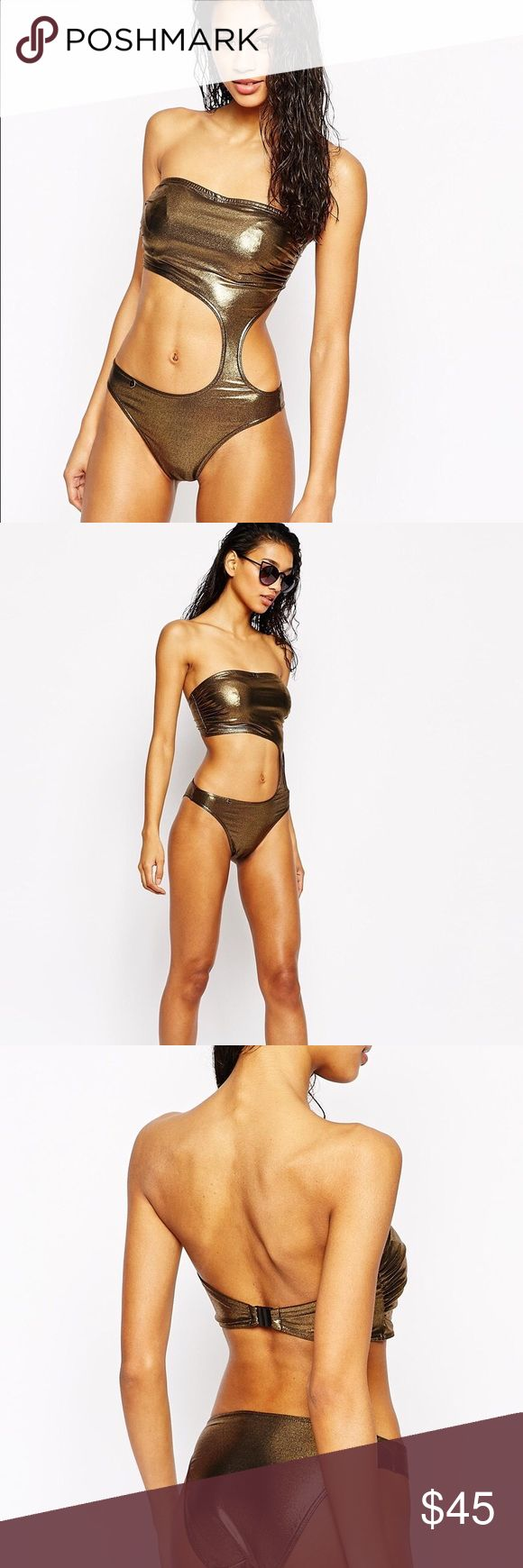 Gold rush cut out swimsuit Freya metallic cut out. Never worn. New with tags. Bra sized cup ASOS Swim