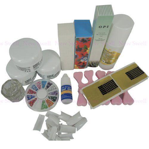 Profissional Kit de unhas de acrílico pó líquido escova de óleo de cutícula das unhas ferramentas cola forma alishoppbrasil