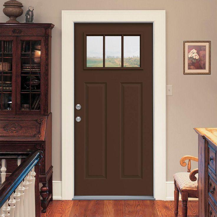 3 Lite Craftsman Dark Chocolate Painted Steel Prehung Left Hand Inswing Front Door W Brickmould