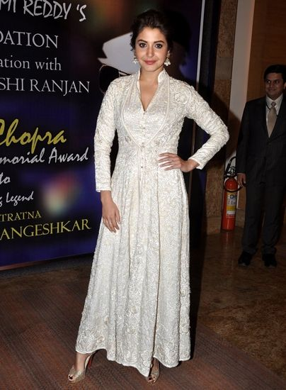 Anushka Sharma in a beautiful Anarkali designed by Abu Jani & Sandeep Khosla. Check out their collection on: http://www.vogue.in/content/best-dressed-week-117#5