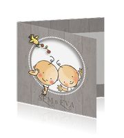 Leuk getekend babykaartje voor een #tweeling voor een jongen en meisje