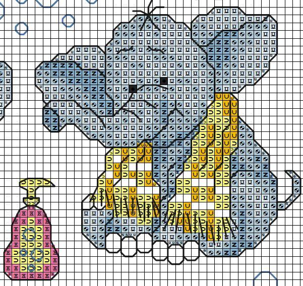Patr n de elefante para ba o 2 cross stitch patterns - Punto de cruz bano ...