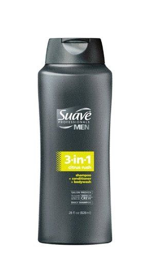 Suave Professionals mens, shampoo/conditioner/body wash, 3 in 1, citrus rush, 28oz by Suave. $3.69. This dual-action formula provides deep cleaning and works on both your hair plus body, so you can get in and out of the shower quickly. Fresh, invigorating and masculine citrus scent. Made in USA. Salon proven to clean hair as well as American crew daily shampoo. Triple action formula works as a shampoo, conditioner and body wash all in one. Designed for the spec...