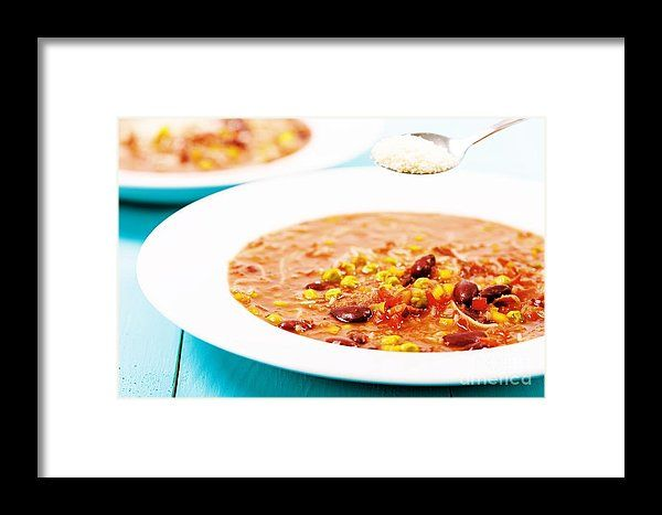 Minestrone Soup With Parmesan Cheese Framed Print