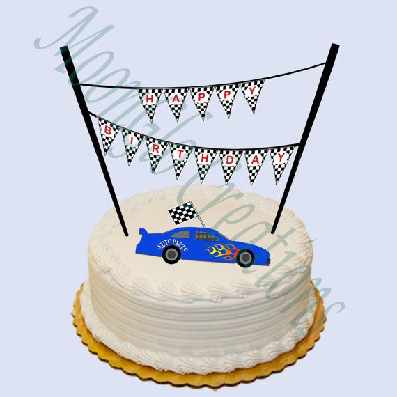 Race car theme 'Happy Birthday' cake banner . by MoonGloCreations