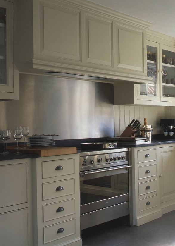 Metal back guard extends into backsplash