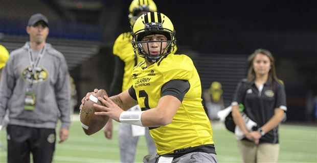Four-star quarterback Matt Corral, an Ole Miss signee in the class of 2018, three it around during Monday's practice at the 2018 U.S. Army All-American Bowl.