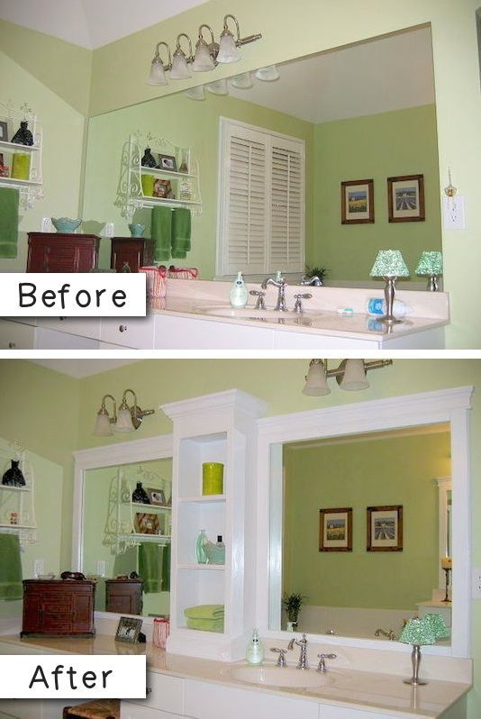#3. Add molding (and shelves?) to an otherwise boring bathroom mirror. -- 27…