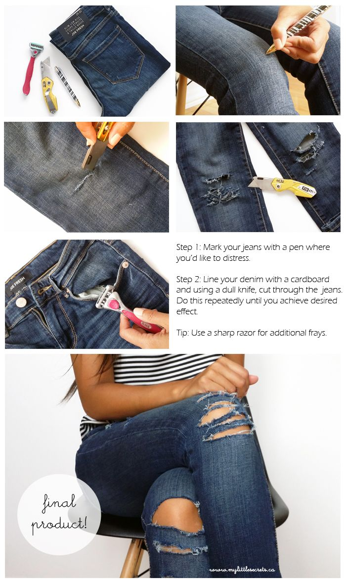 1000  ideas about Diy Ripped Jeans on Pinterest | Diy distressed ...