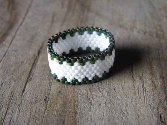 White and Green Beadwork Ring Necklace by Cali Sunrise  <> What is it made of? This Beadwork Ring is made from White and Green Delica Beads weaved