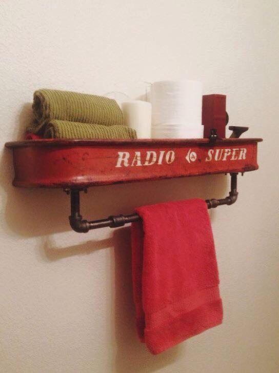 Old wagon turned bathroom decoration.