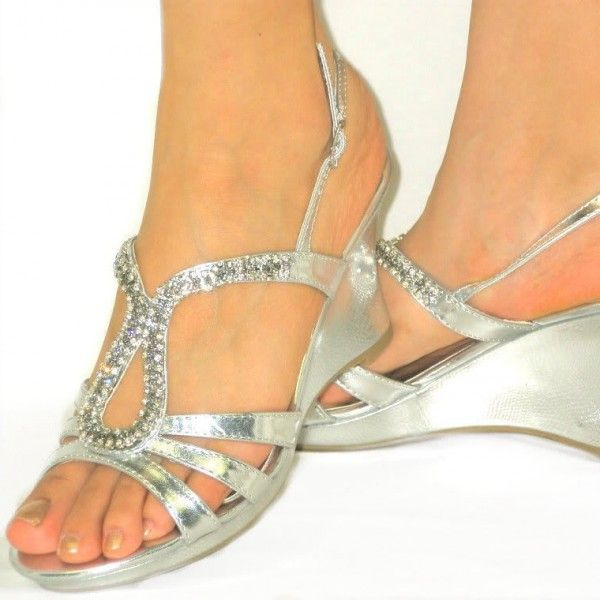 Women's Style Gladiator Sandals  Silver Wedge Sandals Rhinestone Open Toe Wedge Heels 2017 Fall Fashion Trends Fall Fashion Outfits For Women Back To School Outfits For College for Night club, Ball | FSJ