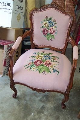 Antique chair w/ needlepoint.