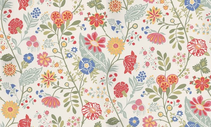 Amelie (541-38) - Sandberg Wallpapers - A boldly coloured floral trail, with multiple wild blooms on single stems. Rich pinks, reds, blues and greens on white. Paste the wall. Please request a sample for true colour match.