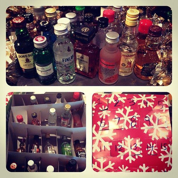 "2 gift boxes + 25 mini bottles of liquor. It's the ""spirits"" of the season! #advent #badpuns #booze"