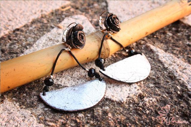 #rose #foglia #argento #orecchini