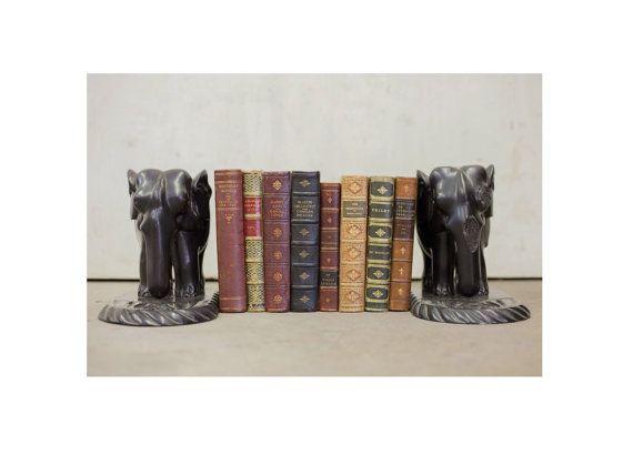Antique Ebony Elephant Book Ends