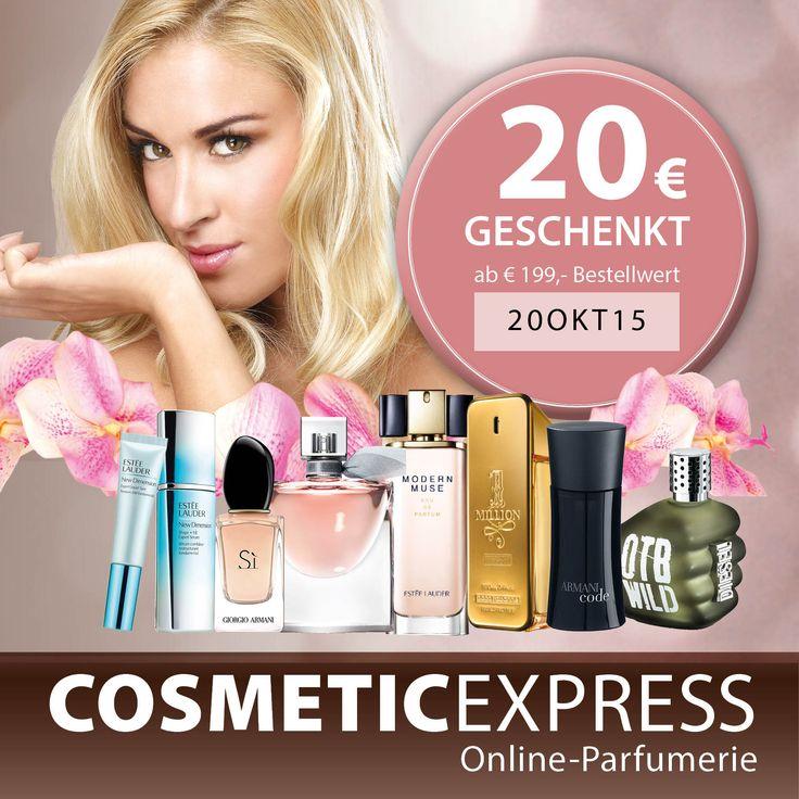 #gutschein #cosmeticexpress 20€ Gutschein ab einem Einkauf von € 199 mit dem Code 20OKT15, gültig bis 18.10.15